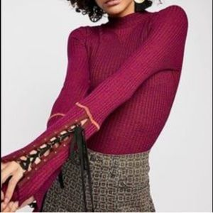 Free People Cuffed lace up thermal Wine